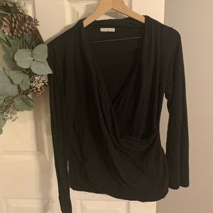 James Perse Long Sleeve Surplice Top